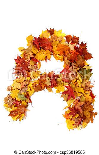 alphabet sign from autumn leaf - csp36819585