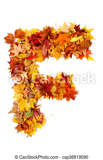 alphabet sign from autumn leaf - csp36819590