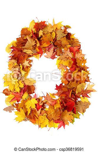 alphabet sign from autumn leaf - csp36819591