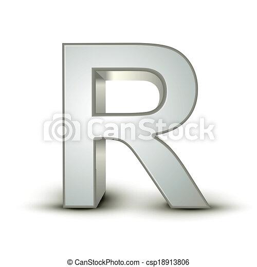alphabet silver R - csp18913806