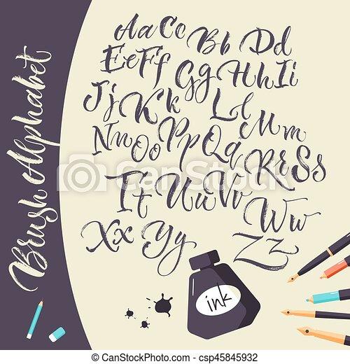 Alphabet Artistique alphabet, stylos, artistique, fond, encre. plat, stylos, alphabet