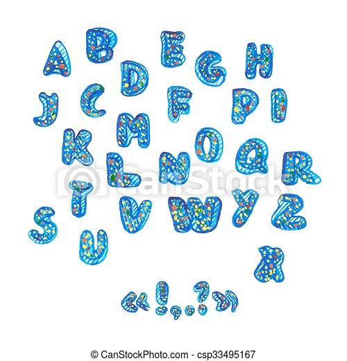 alphabet, symbols., aquarelle, manuscrit - csp33495167