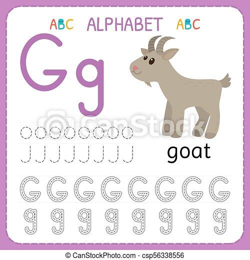 alphabet tracing worksheet for preschool and kindergarten writing practice letter g exercises for kids