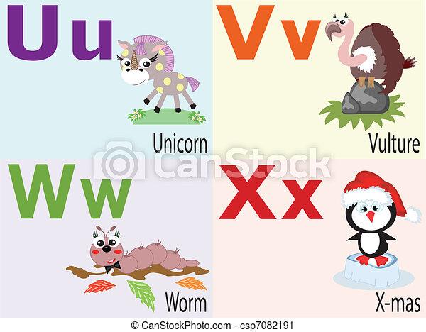 alphabet, , , u, animal - csp7082191