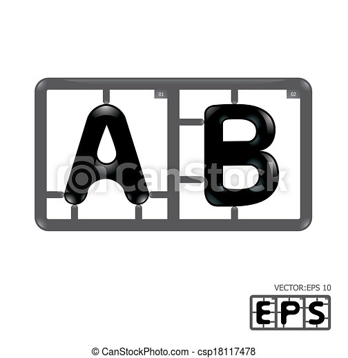 alphabet, vecteur, model-kit, lettre - csp18117478