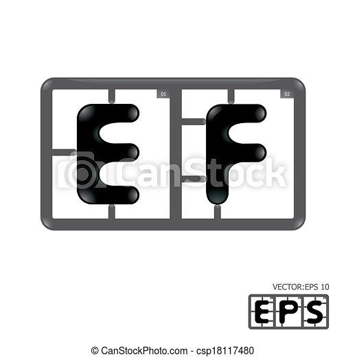 alphabet, vecteur, model-kit, lettre - csp18117480