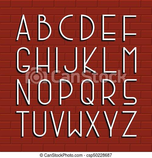 Fina fuente retro. El alfabeto inglés Vector. - csp50228687