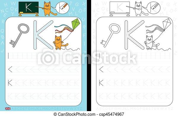 Alphabet, verfolgen, arbeitsblatt. Üben, arbeitsblatt, k ...