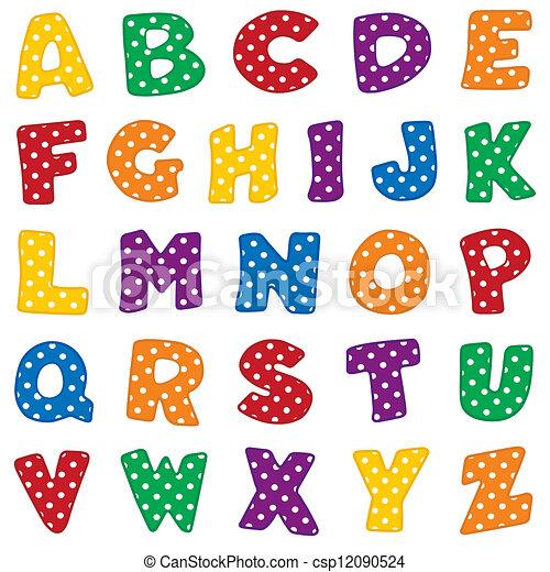 Alphabet, White Polka Dots - csp12090524