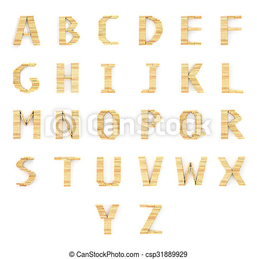 Alphabet wood dominos type blocks on white - csp31889929