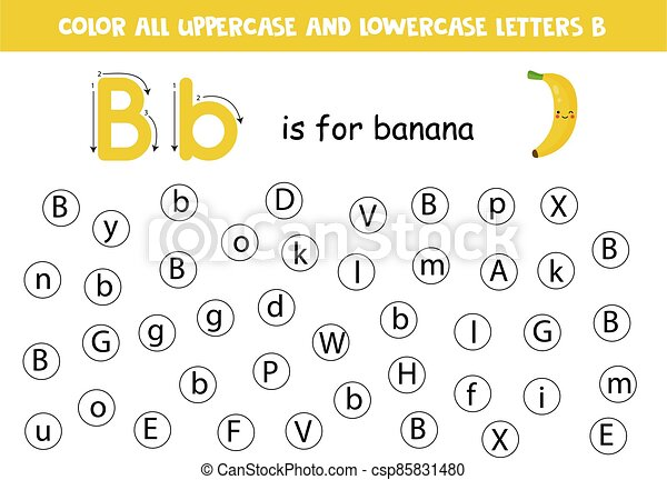 Alphabet Worksheet. Find All Letters Bb. Dot Letters. Dot Or Color Letter  B. Alphabet Learning Page For Preschoolers. Abc CanStock