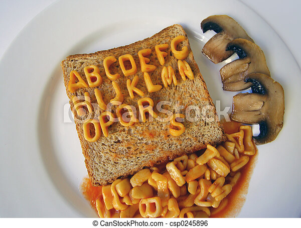 alphabet written on toast - csp0245896