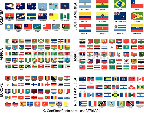 Alphabetical Country Flags by Continent - csp22796394