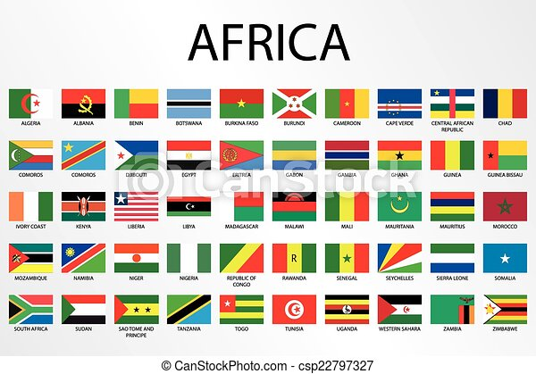 Alphabetical Country Flags for the Continent of Africa - csp22797327