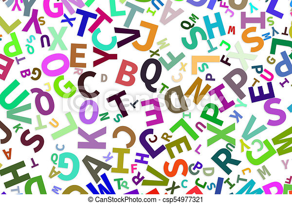 Alphabets letters from A to Z, word cloud