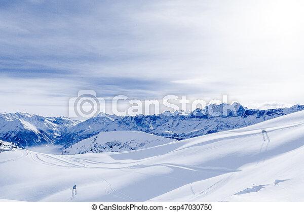 Alpine Alps mountain landscape. Panorama of Snow Mountain - csp47030750