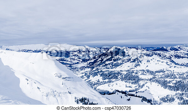 Alpine Alps mountain landscape. Panorama of Snow Mountain - csp47030726