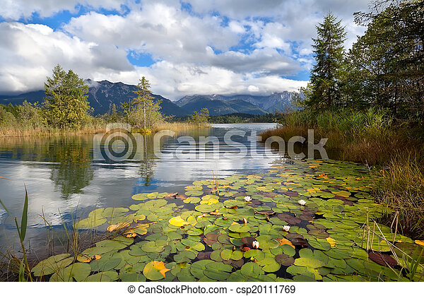 alpine lake Barmsee with water lily flowers - csp20111769