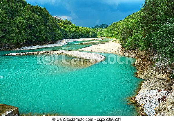 Alpine landscape with river - csp22096201