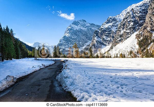 Alpine mountain landscape in the late autumn season. - csp41113669