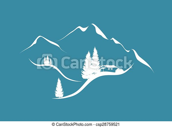 alpine mountain scenery with hut and firs - csp28759521