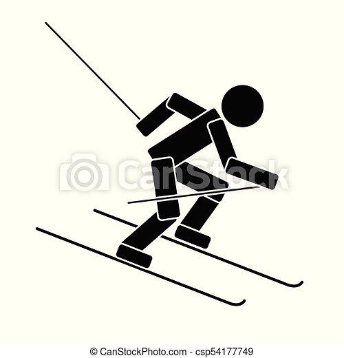Alpine skiing. Flat icon - csp54177749