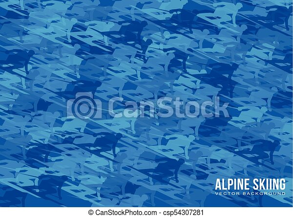 Alpine Skiing vector background - csp54307281