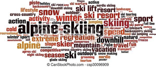 Alpine skiing word cloud concept.  - csp30096909