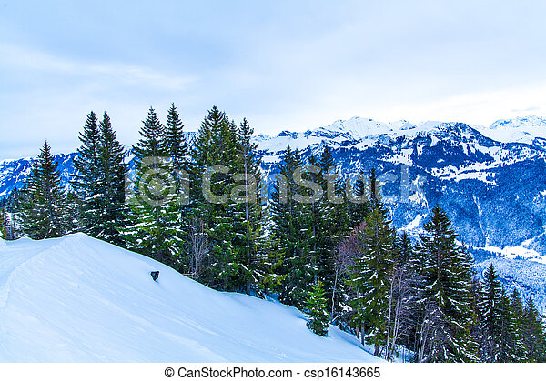 Alps mountain landscape. Winter lan - csp16143665