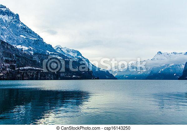 Alps mountain landscape. Winter lan - csp16143250