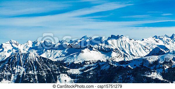 Alps mountain landscape.  Winter landscape - csp15751279