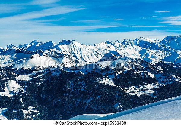 Alps mountain landscape.  Winter landscape - csp15953488