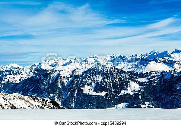 Alps mountain landscape.  Winter landscape - csp15439294