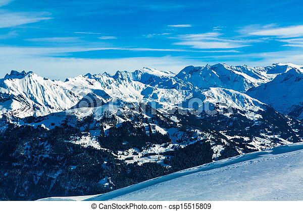 Alps mountain landscape.  Winter landscape - csp15515809
