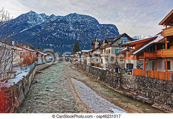 Alps Partnach River and wooden Chalets at Garmisch Partenkirchen - csp46231017
