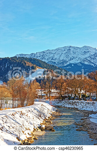 Alps Partnach River at winter Garmisch Partenkirchen - csp46230965