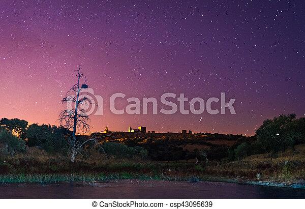 Alqueva lake near Monsaraz village in the night, Portugal - csp43095639
