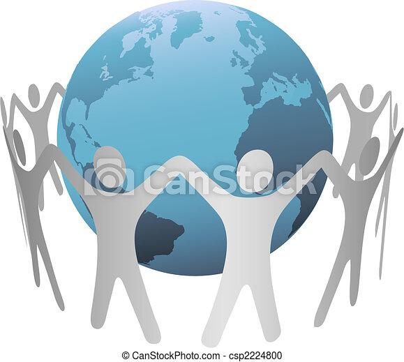 Un anillo de cadena de gente alrededor del planeta Tierra - csp2224800