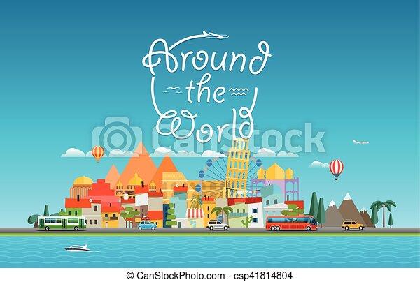 El concepto de viaje alrededor del mundo. Asia Cityscape vector de viaje ilustración de viaje - csp41814804