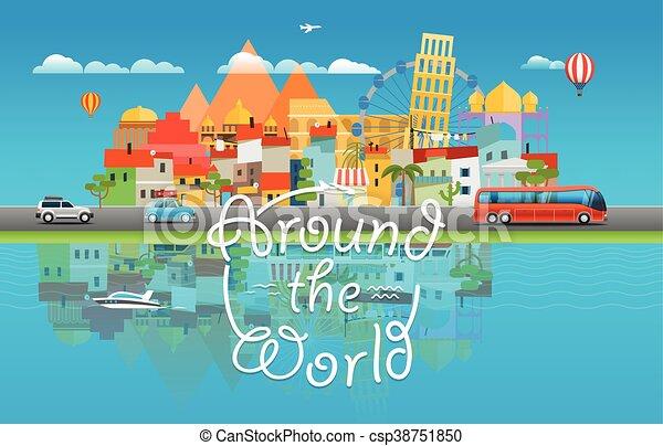 El concepto de viaje alrededor del mundo. Asia Cityscape vector de viaje ilustración de viaje - csp38751850