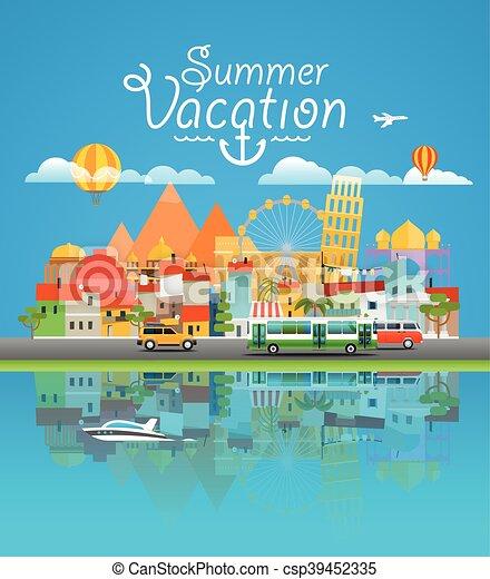Dirrepente visión mundialmente famosa. En todo el mundo. Asia Cityscape vector de viaje ilustración de viaje - csp39452335