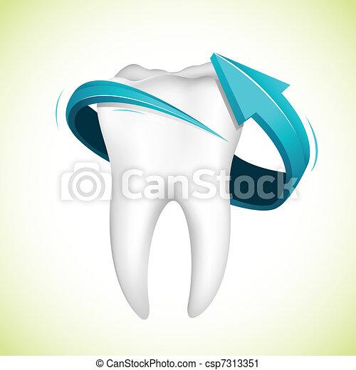 Flecha alrededor de los dientes - csp7313351