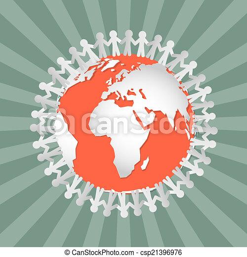 Gente dando la mano por todo el mundo, vector - csp21396976