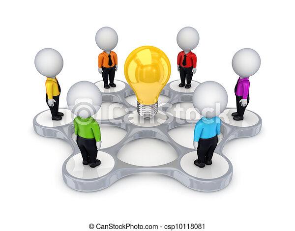 3D personas pequeñas alrededor del símbolo de la idea. - csp10118081
