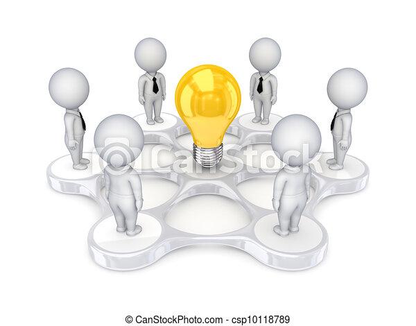 3D personas pequeñas alrededor del símbolo de la idea. - csp10118789