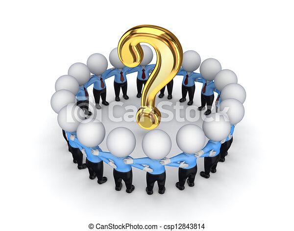 3D personas pequeñas alrededor de la marca de consulta. - csp12843814
