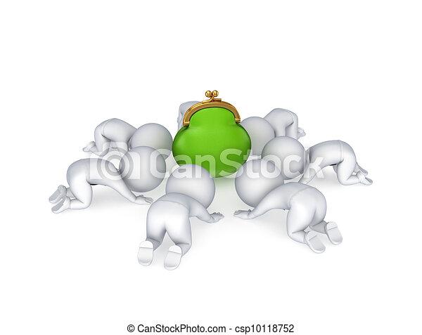 3D personas pequeñas alrededor de bolso verde. - csp10118752
