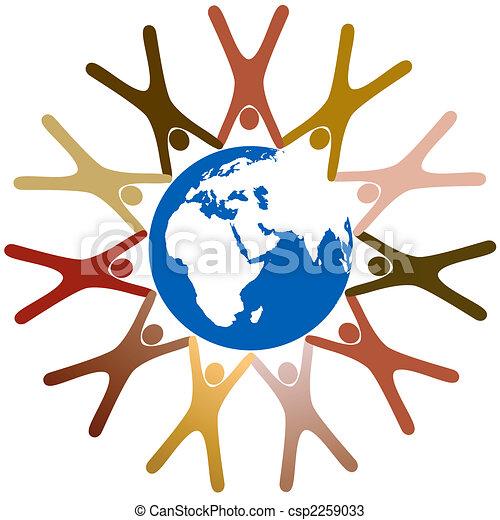 El símbolo diverso que la gente toma de la mano alrededor del planeta Tierra - csp2259033