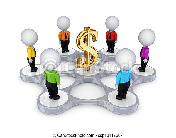 3D personas pequeñas alrededor de un signo de dólar. - csp10117667