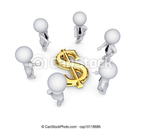 3D personas pequeñas alrededor de un signo de dólar. - csp10118686